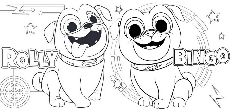 Beautiful Rolly And Bingo From Puppy Dog Pals Coloring Page