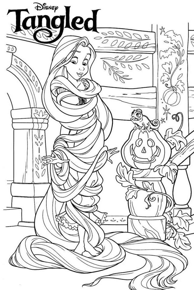 Disney Rapunzel Halloween Coloring Page