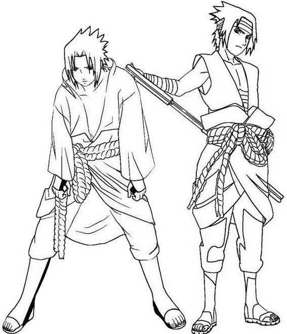 sasuke uchiha in action coloring page