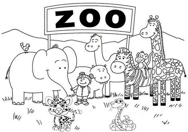 Fun and Cute Zoo Coloring Page
