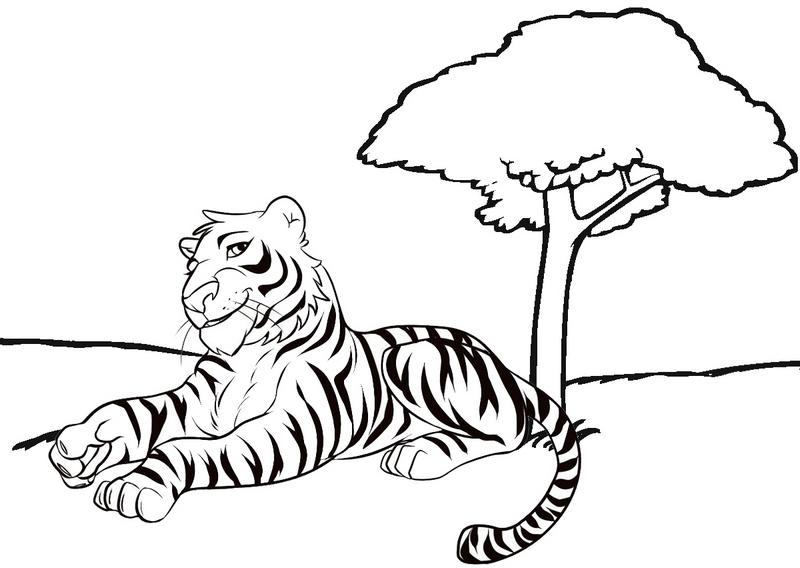 beautiful tiger cartoon coloring page