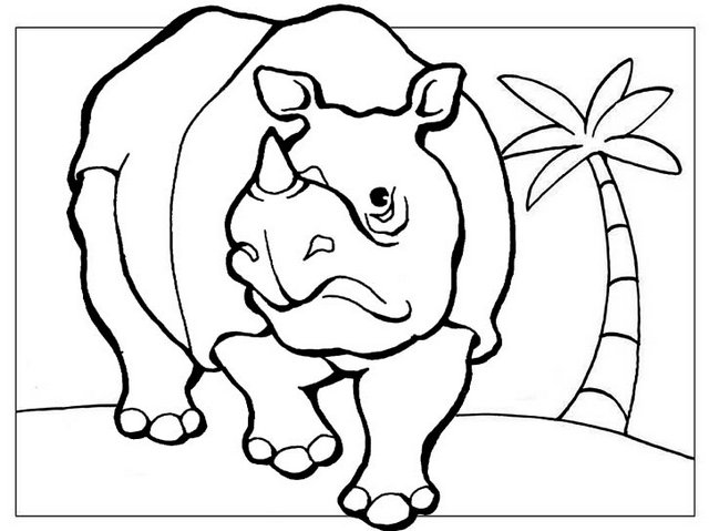 ancient rhinoceros animal coloring and drawing coloring page