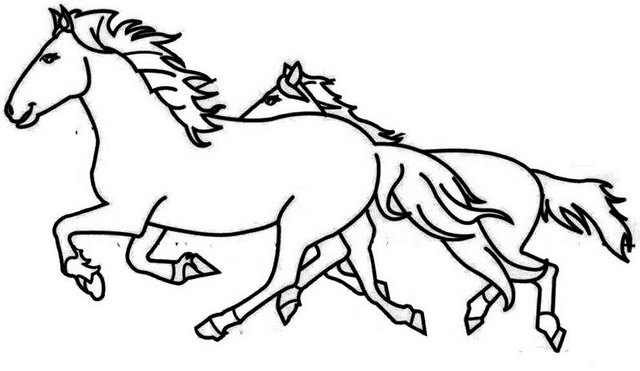 two horses running coloring page
