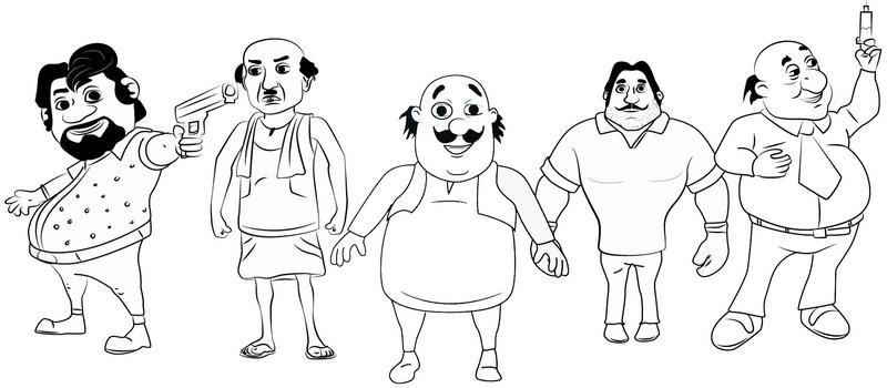 Motu Patlu Characters Coloring Page