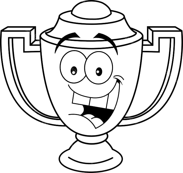 Trophy Cartoon Smiling Coloring Page