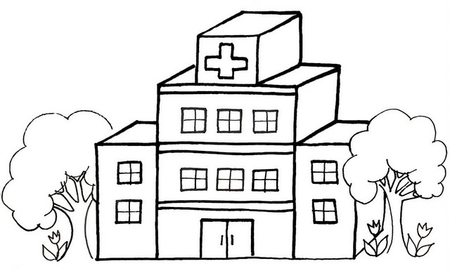 hospital cartoon coloring page