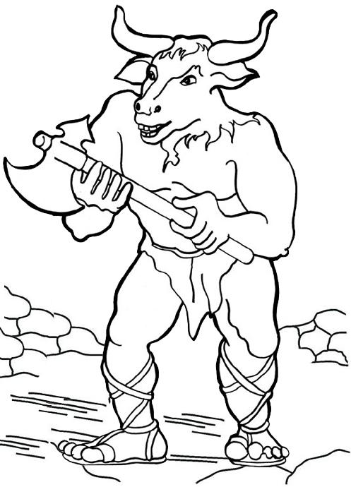 Minotaur Greek Mythology Coloring Page