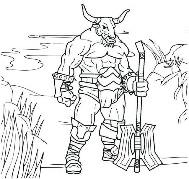 The myth of Minotaur Coloring Page