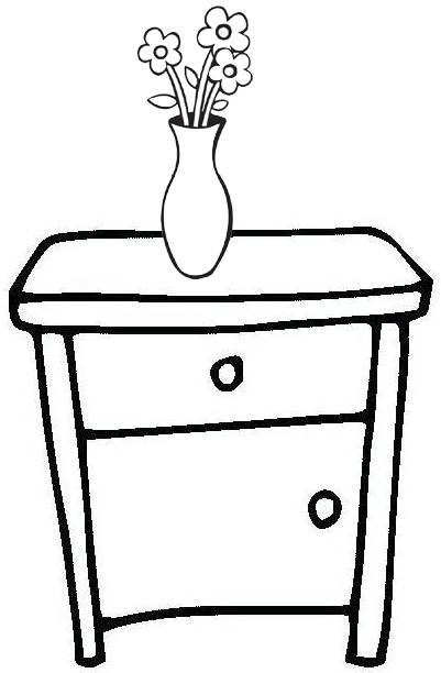 bedside table with vase flower coloring page
