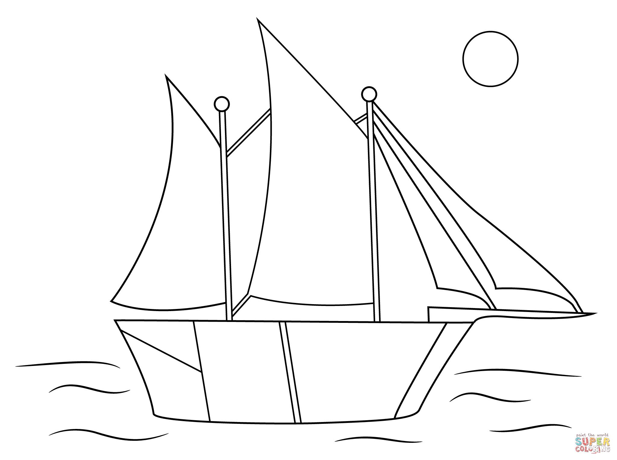 Aboriginal Drawing of Sailing Ship Coloring Books