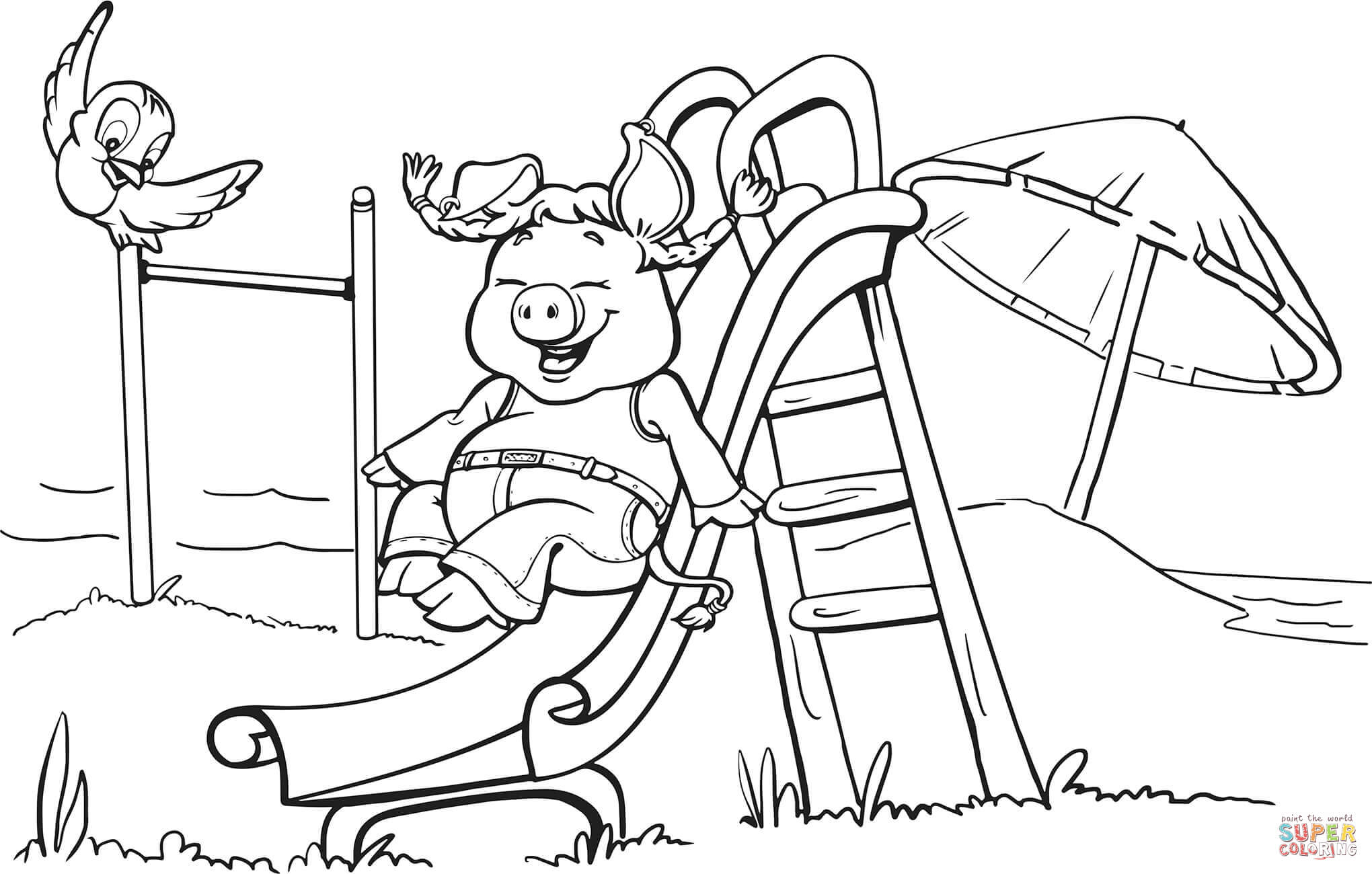 Pig On The Playground Slide Coloring Books