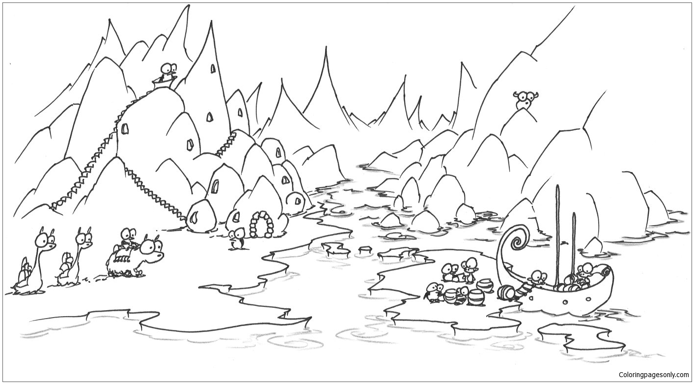 An Arctic Penguin Village Coloring Page