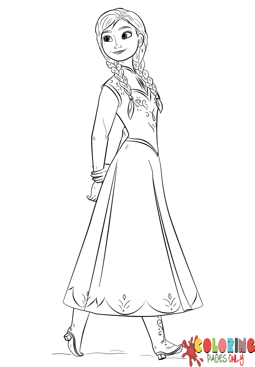 Princess Frozen Anna Coloring Page - Free Coloring Pages