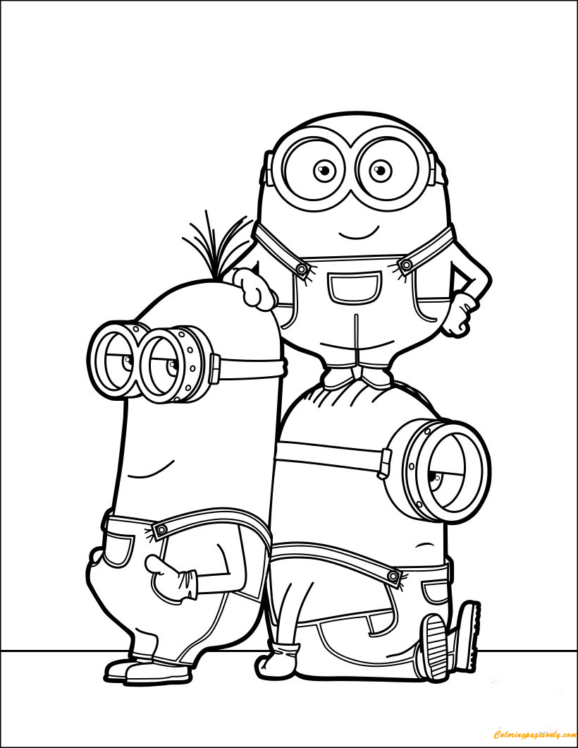 Minions Kevin Stuart And Dave Coloring Page Free Coloring Pages