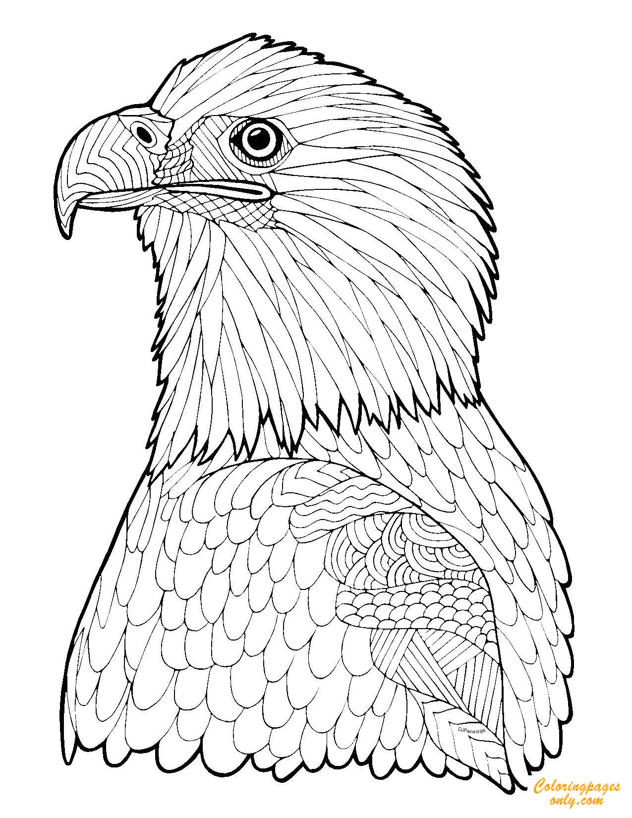 Zentangle Eagle Coloring Page Free Coloring Pages Online