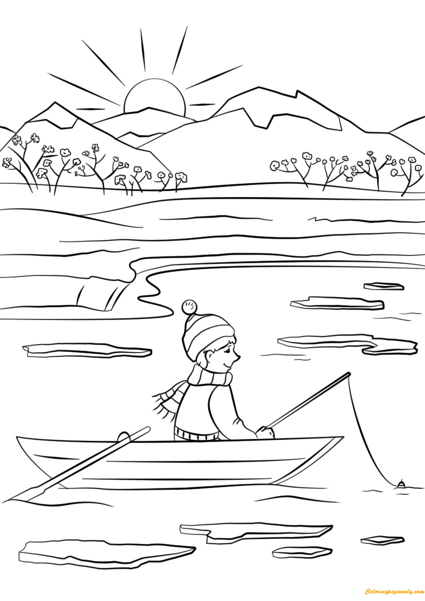 A Boy Fishing In Spring Coloring Page Free Coloring