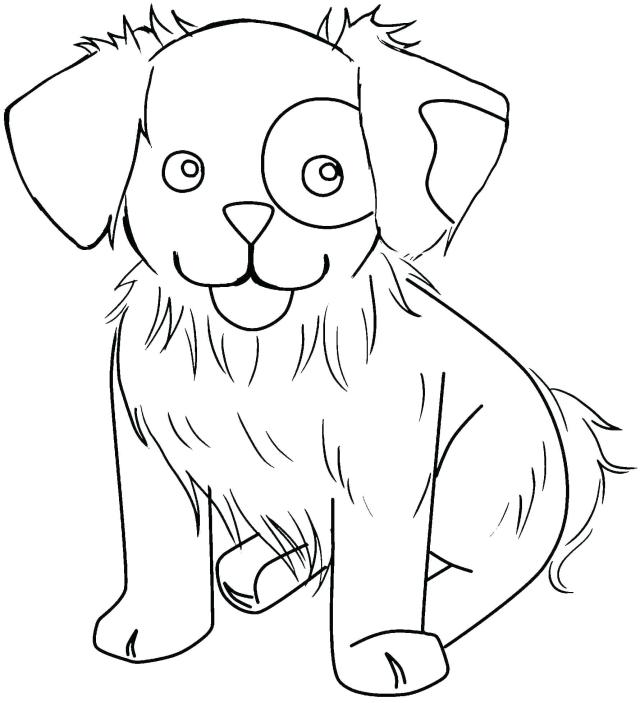A cute dog Coloring Pages - Cute Animal Coloring Pages - Coloring
