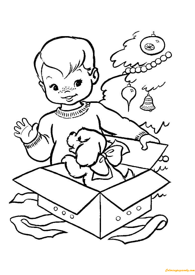 A Little Boy Opening The Gifts Coloring Page Free Coloring Pages
