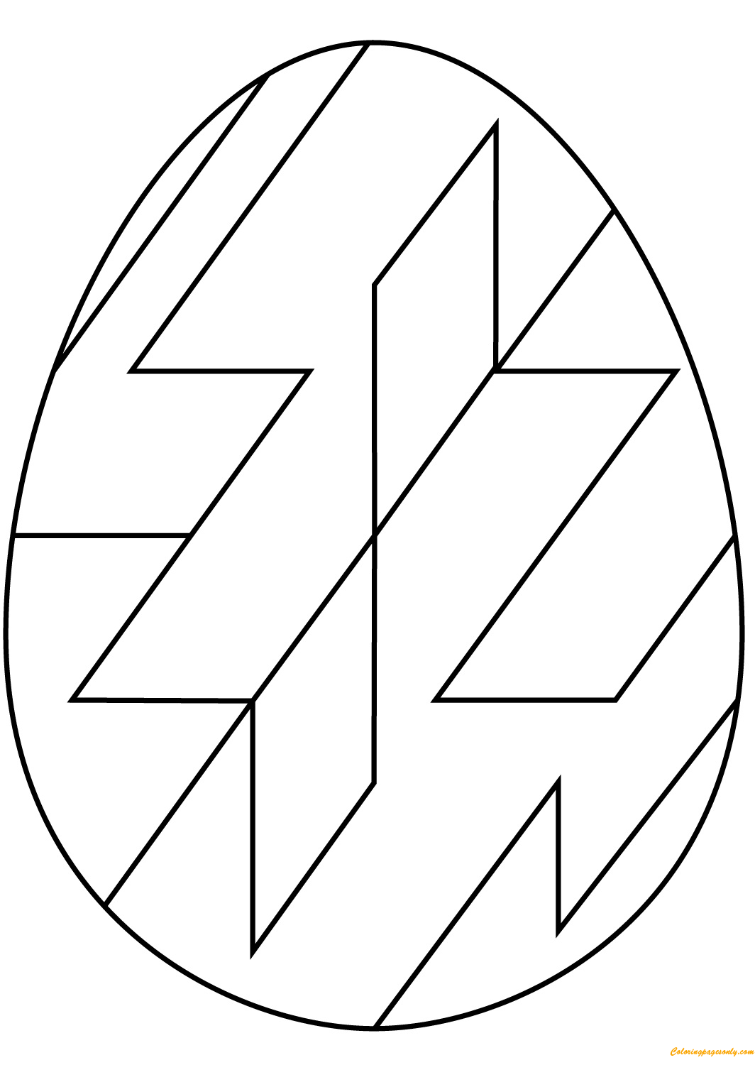 Abstract Geometric Pattern Easter Egg Coloring Page