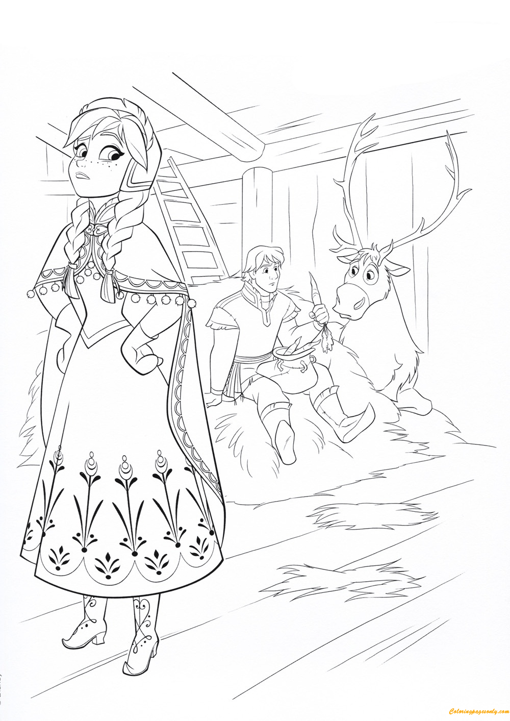 Anna With Kristoff And Sven Coloring Page Free Coloring