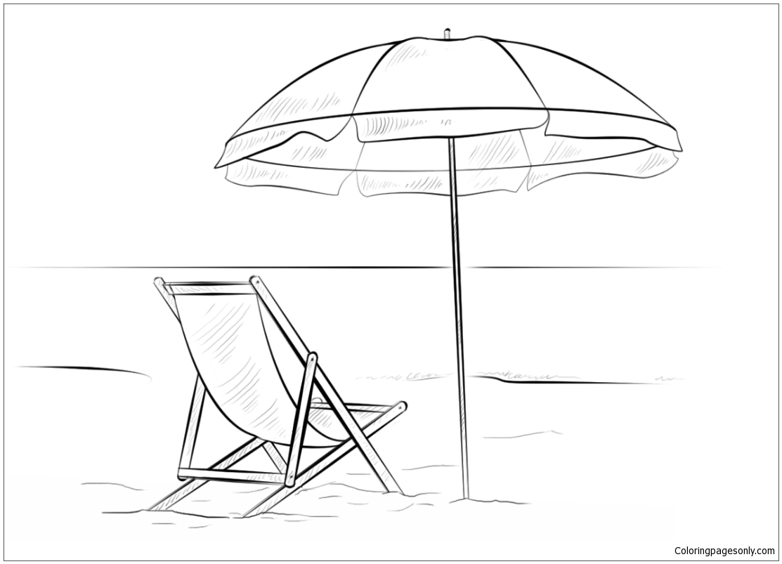 Beach Chair And Umbrella Coloring Page  Free Coloring