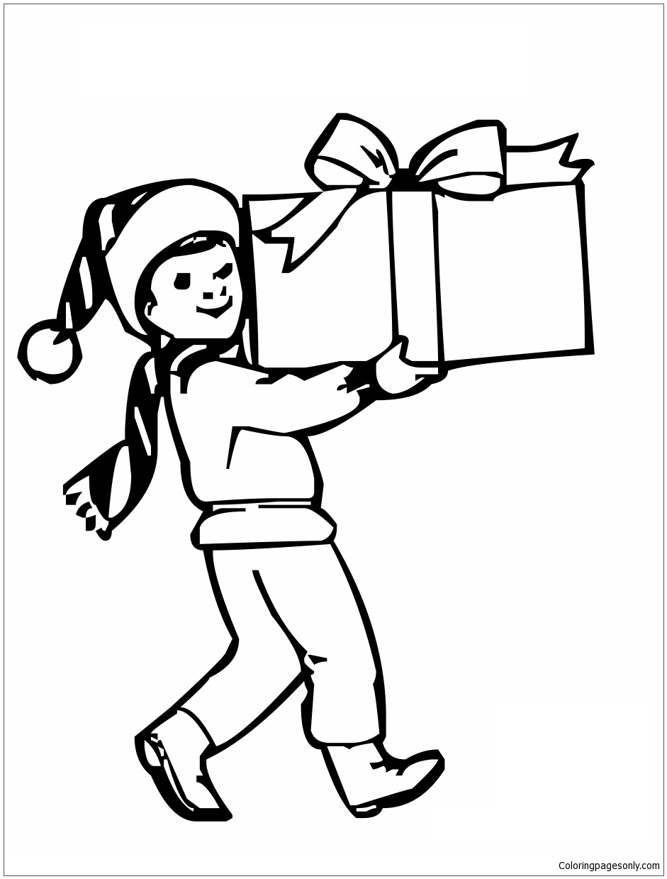 Boy With Christmas Gifts Coloring Page Free Coloring Pages Online
