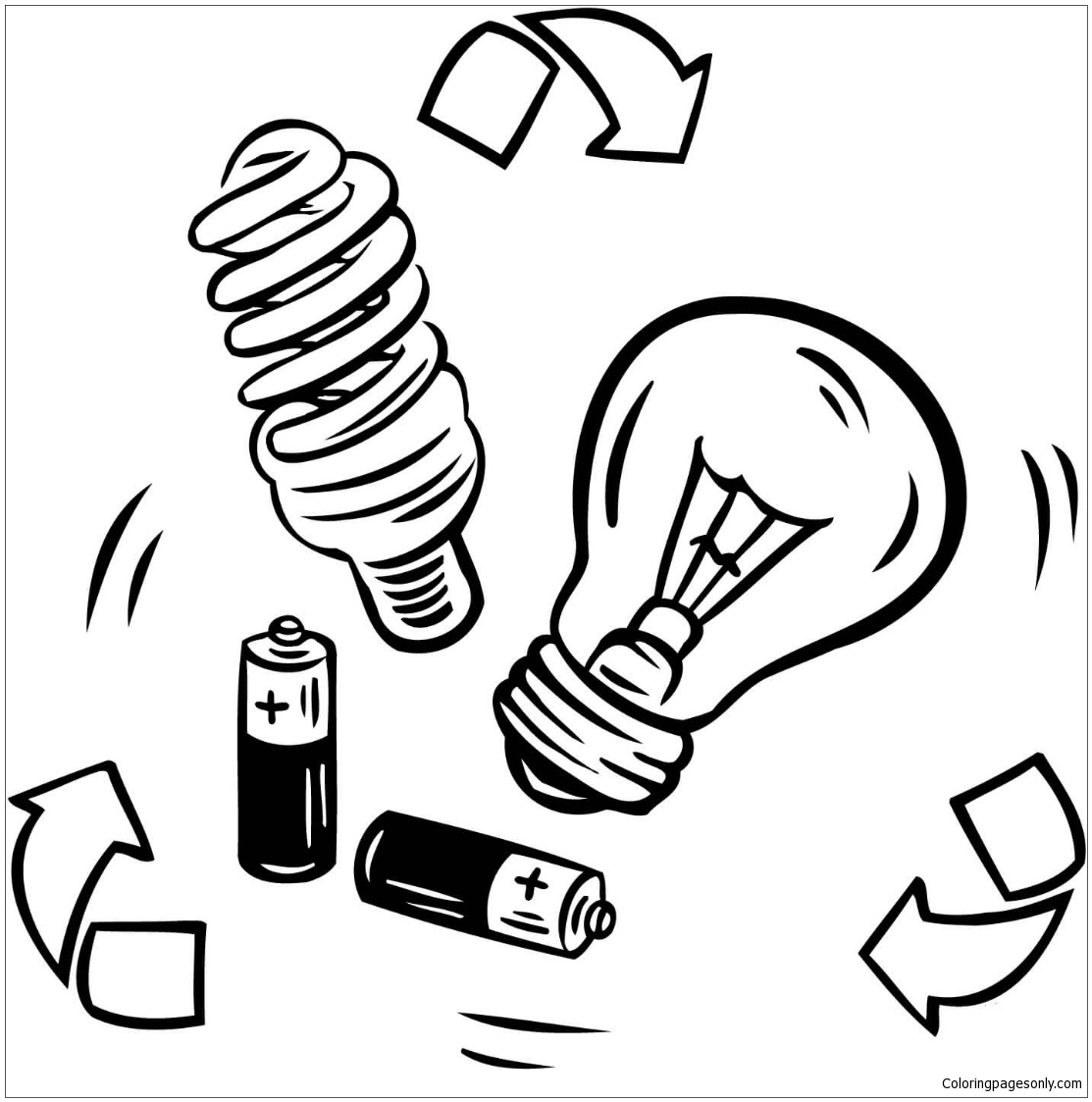 Bulb Recycling From Battery Coloring Page