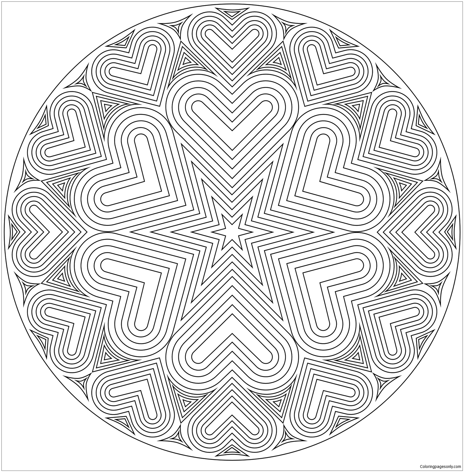 Bullseye Heart Mandala Coloring Page Free Coloring Pages Online