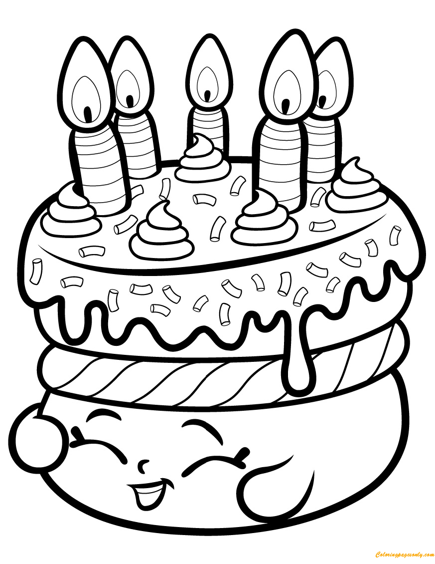 Cake Wishes Shopkin Season 1 Coloring Page Free Coloring Pages