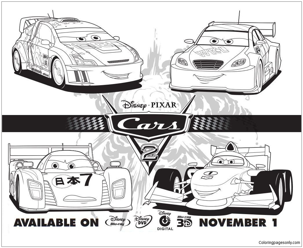 Cars 2 Disney Four Cars Coloring Page Free Coloring Pages Online