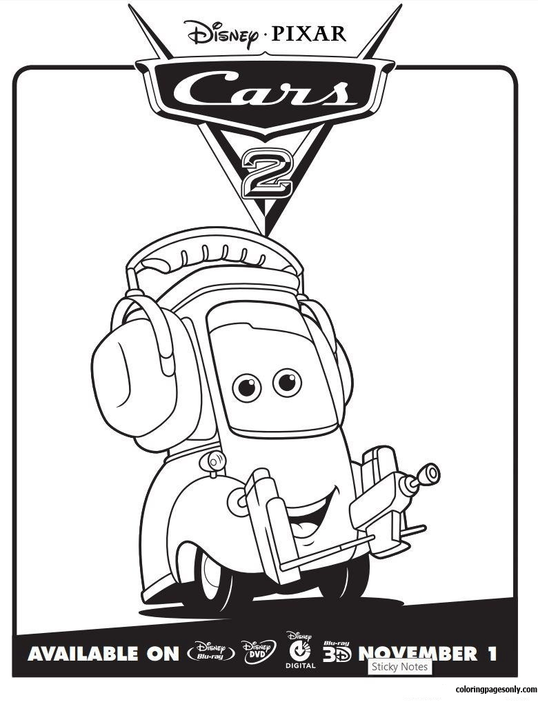 Cars 2 Movie Not Chuck Disney Coloring Page Free