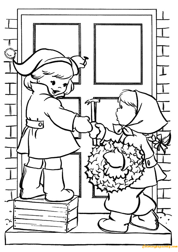 Door Coloring Page & Red Riding Hood Open Grandma House