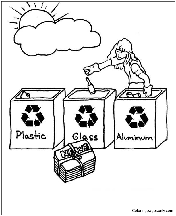 Choose The Right Bucket For Recycling Coloring Page Free