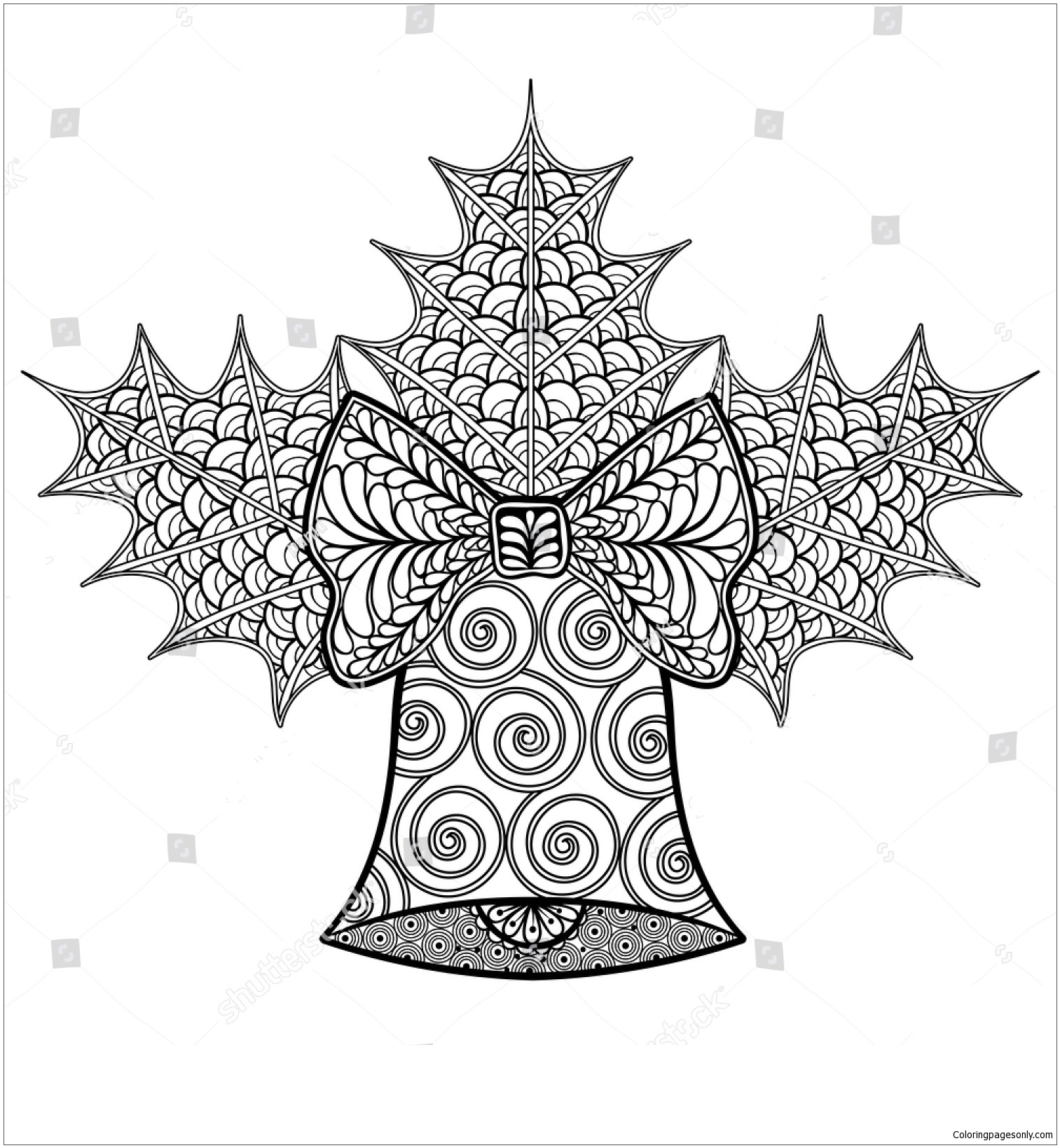 Christmas Decorative Bell And Mistletoe Coloring Page