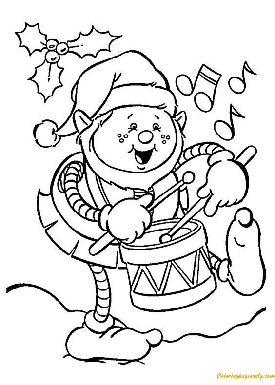 Christmas Elf Playing Drum Coloring Page Free Coloring