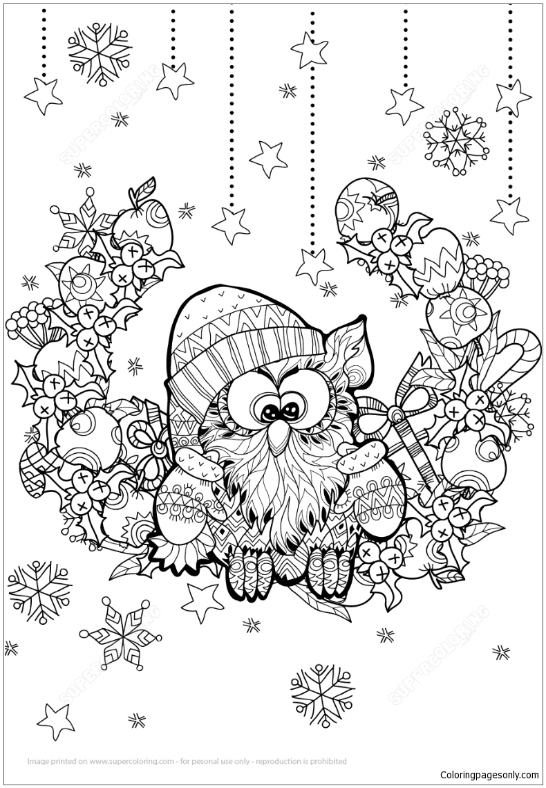 Christmas Owl Zentangle Coloring Page Free Coloring