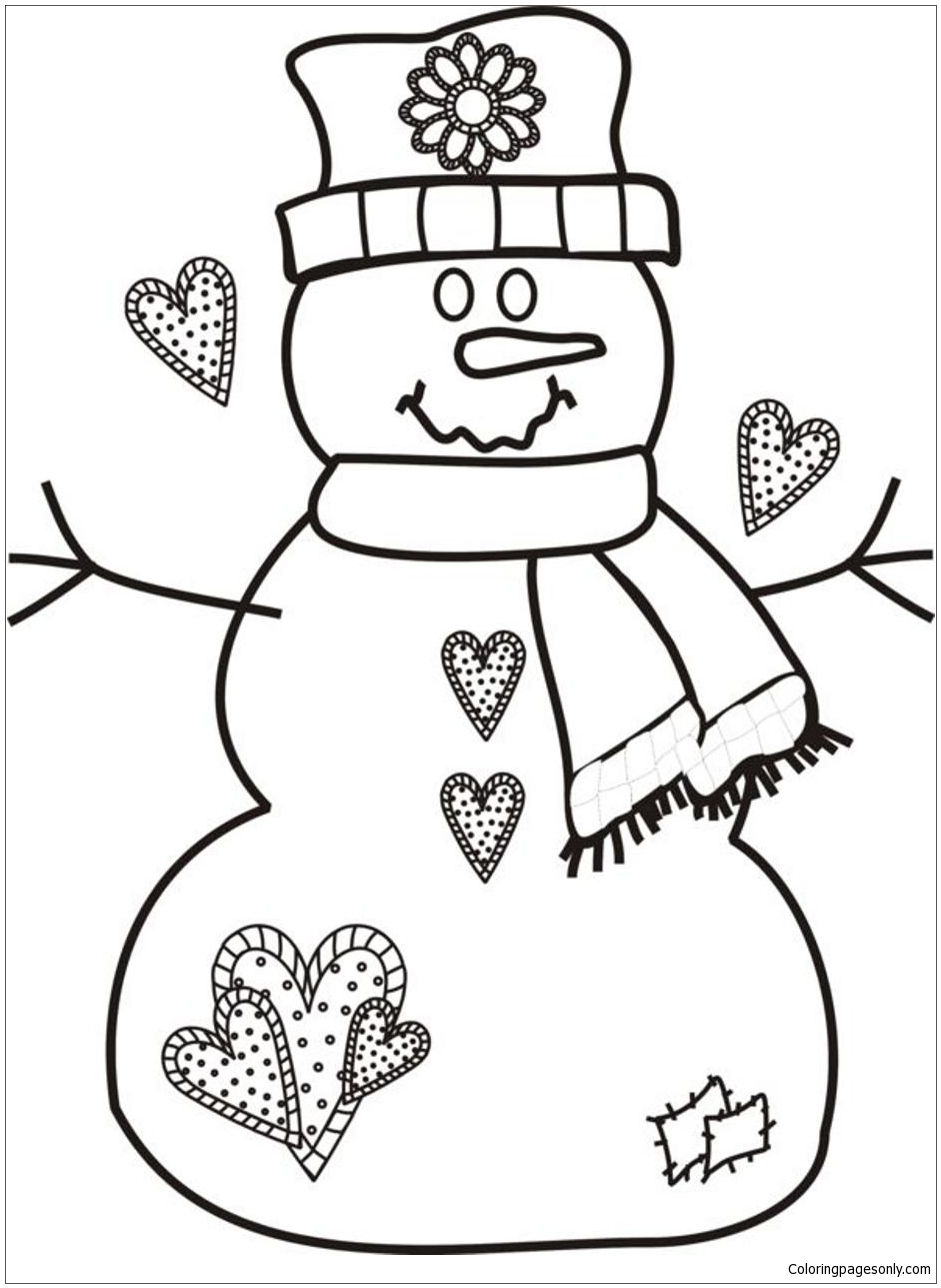 Christmas Snowman 1 Coloring Page Free Coloring Pages Online