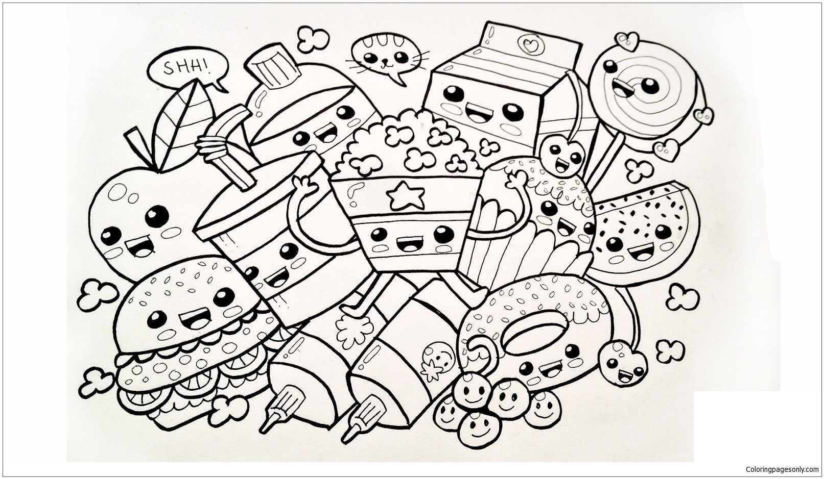 Cute Food Coloring Page