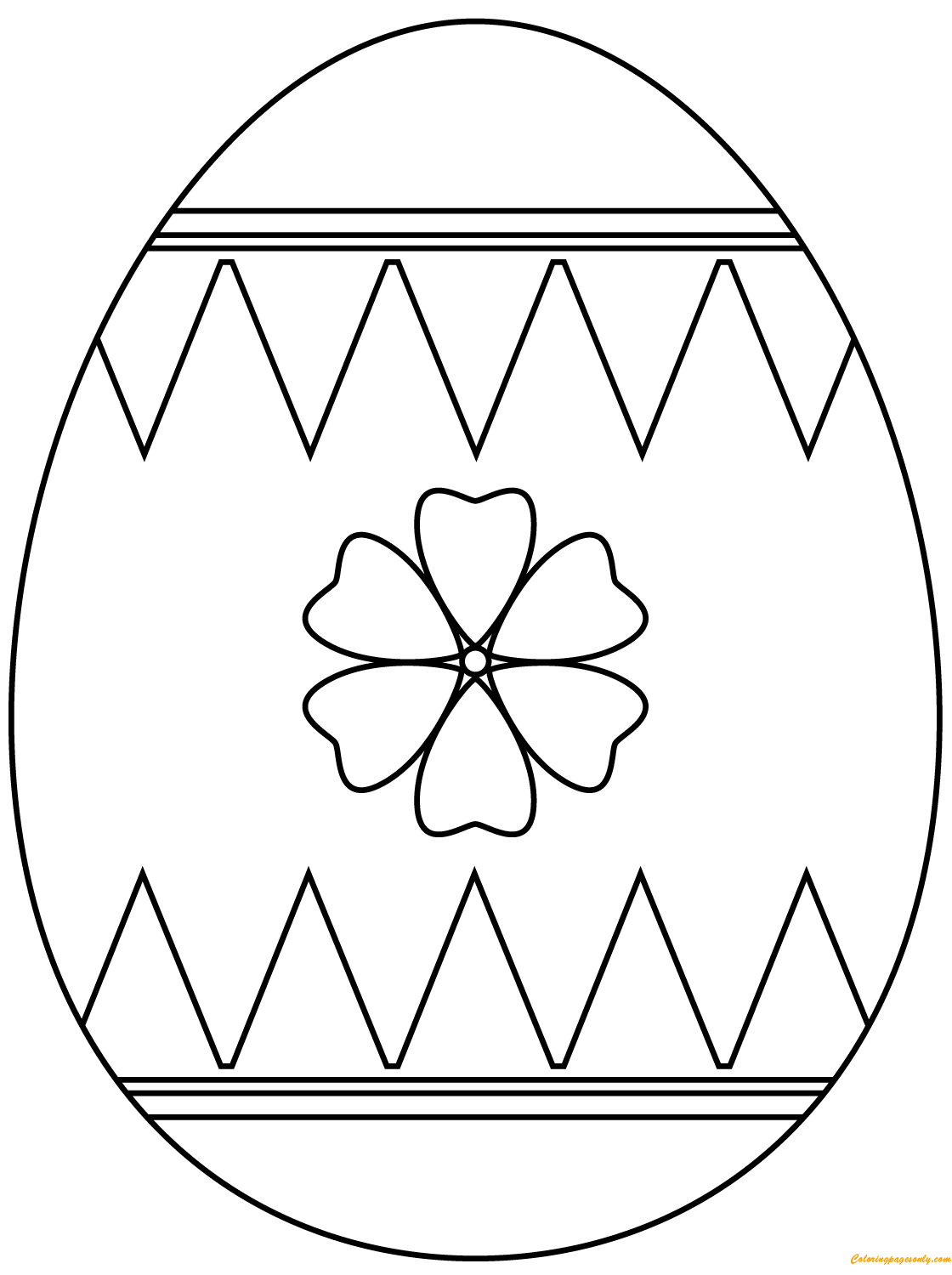 Decorating Flower Easter Eggs Coloring Page
