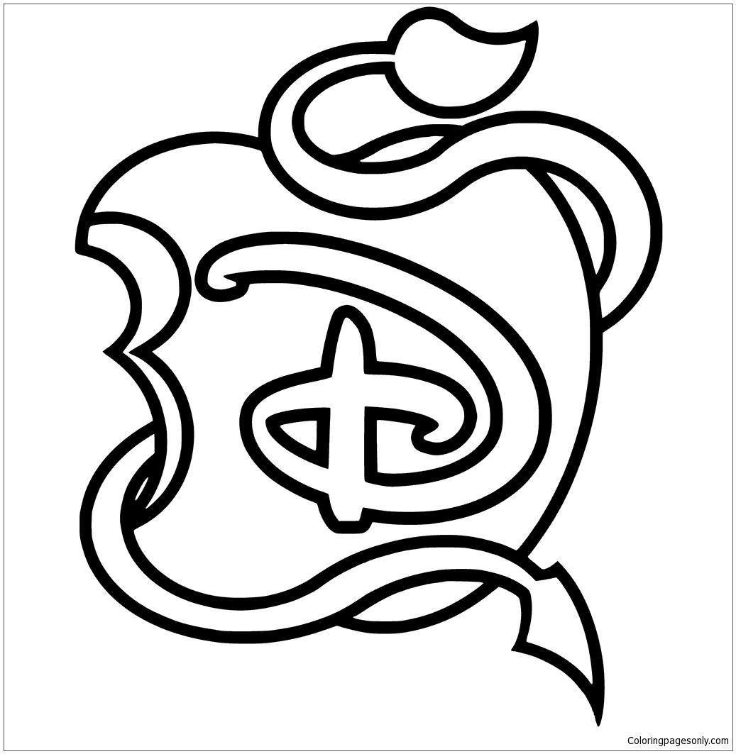 Disney Descendants Logo Apple Black And White Coloring Page Free