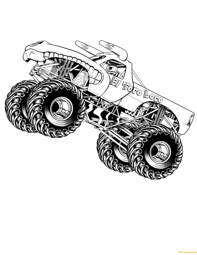 El Toro Loco Jumping Coloring Pages - Monster Truck Coloring Pages