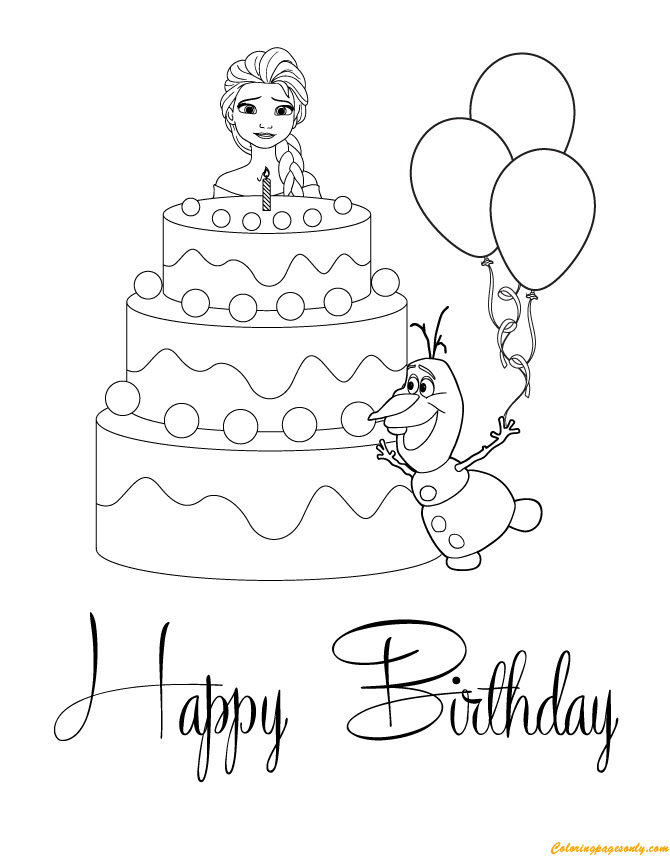 Elsa And Olaf With Cake Happy Birthday Coloring Page
