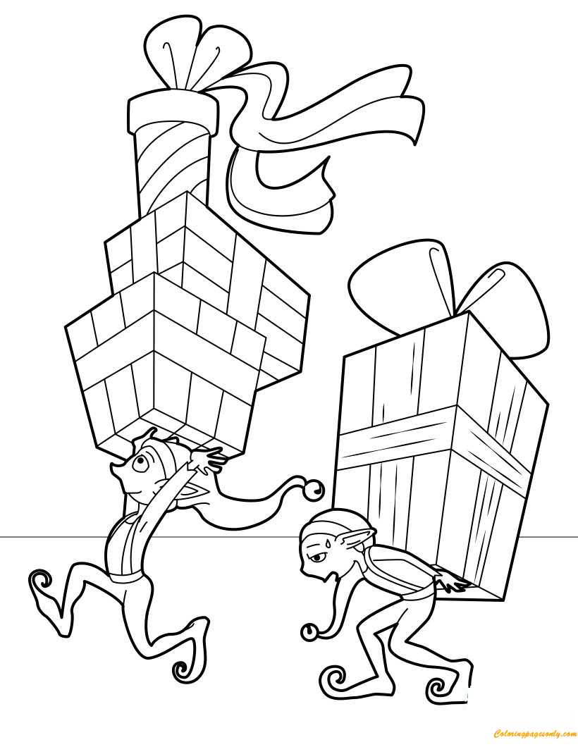 Elves Delivering Presents Coloring Page Free Coloring Pages Online