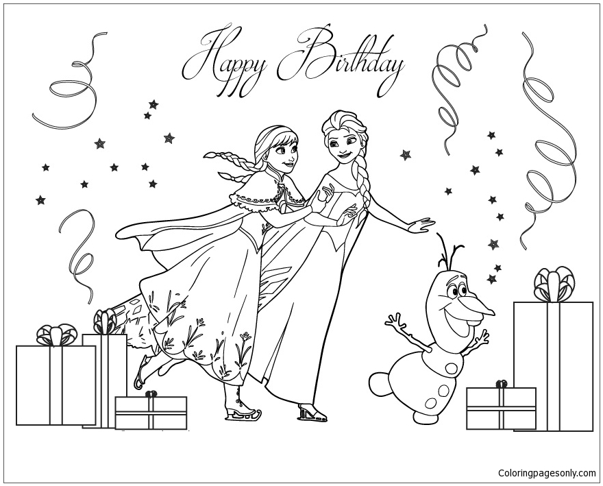 Frozen Cast Ice Skating Coloring Page Free Coloring
