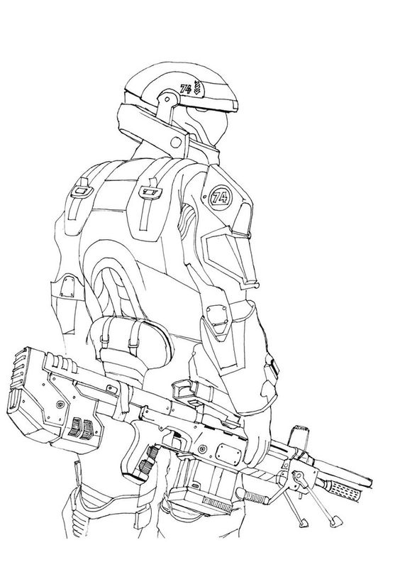 Master Chief Colouring Pages Halo Coloring Page Halo