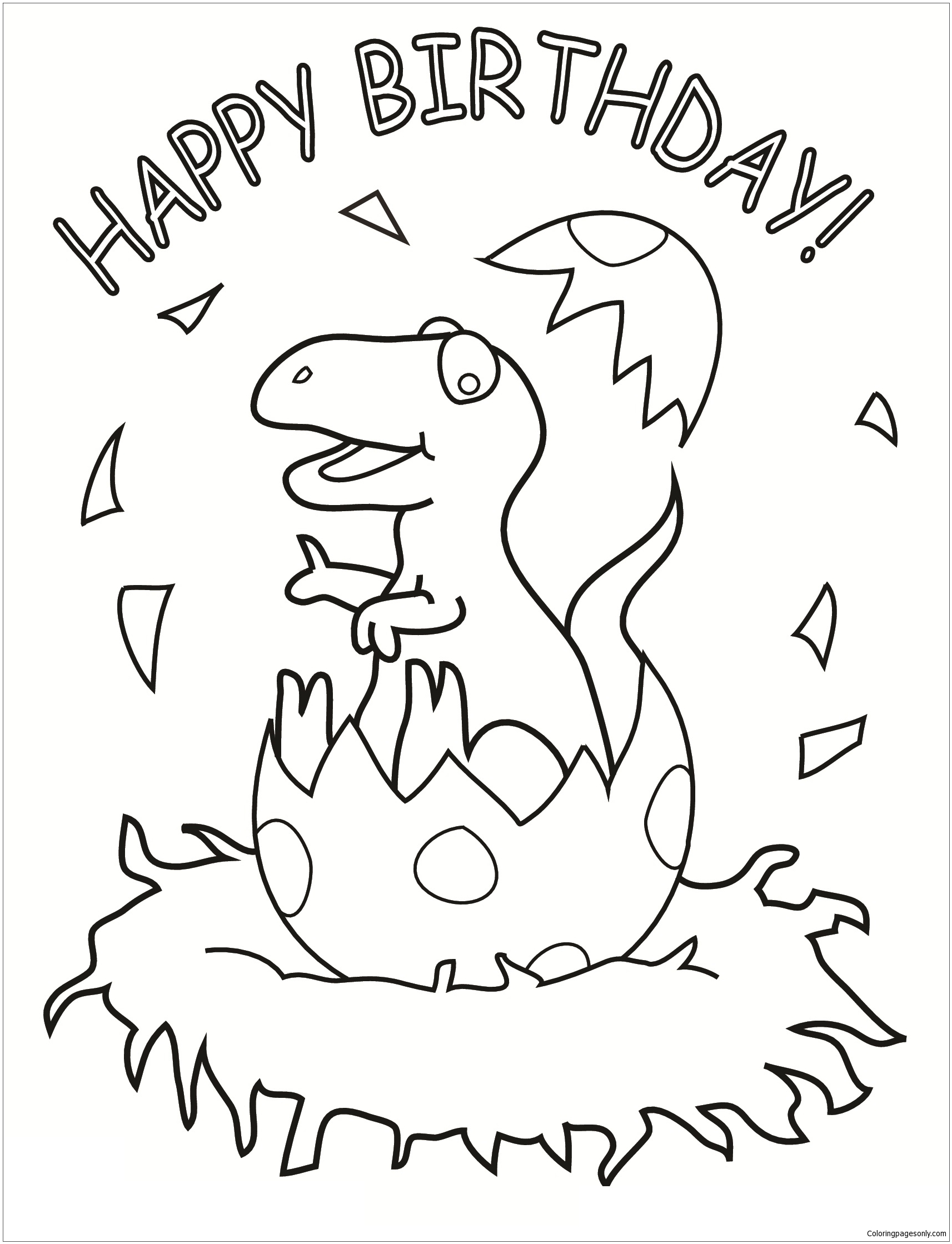 Happy Birthday Dinosaur Coloring Page