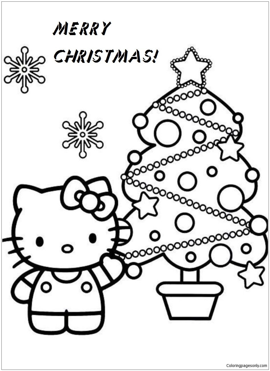 Hello Kitty Christmas Coloring Pages : hello, kitty, christmas, coloring, pages, Hello, Kitty, Christmas, Coloring, Pages, Cartoons, Printable, Online