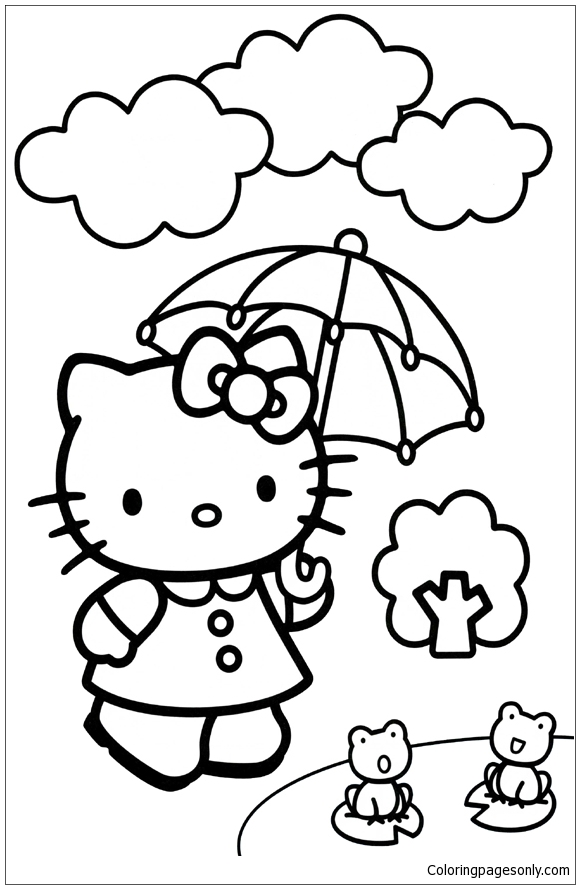 Hello Kitty Umbrella Coloring Page Free Coloring Pages