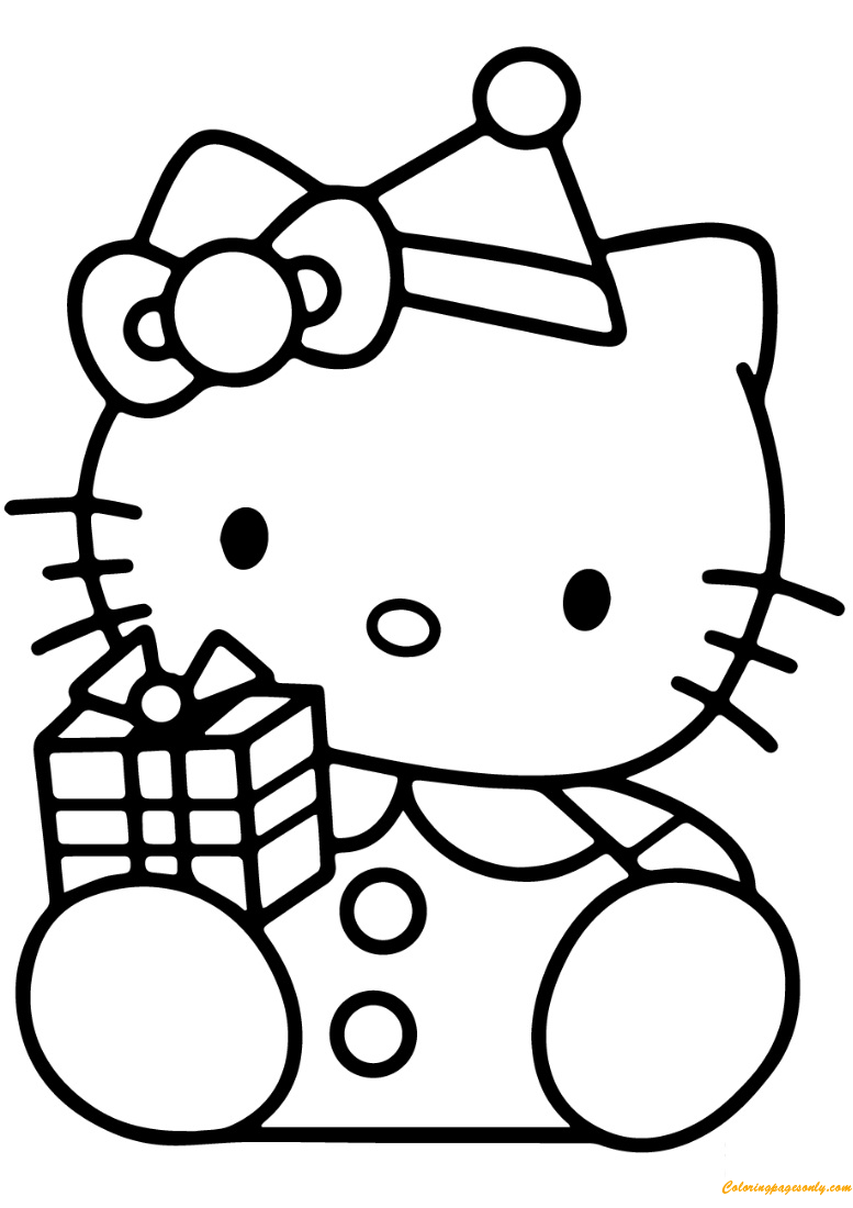 Hello Kitty With Christmas Gift Box Coloring Page Free Coloring