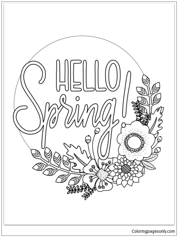Hello Spring Coloring Page Free Coloring Pages Online